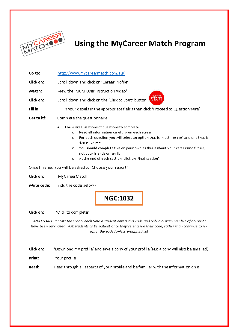 Accessing MyCareer Match - Student Instructions (Nagle)